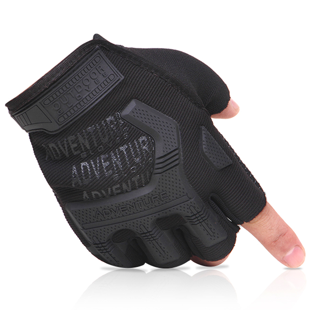 Mens Tactical Outdoor Sports Gym Bike Bicycle Half Finger Leather Gloves Mittens