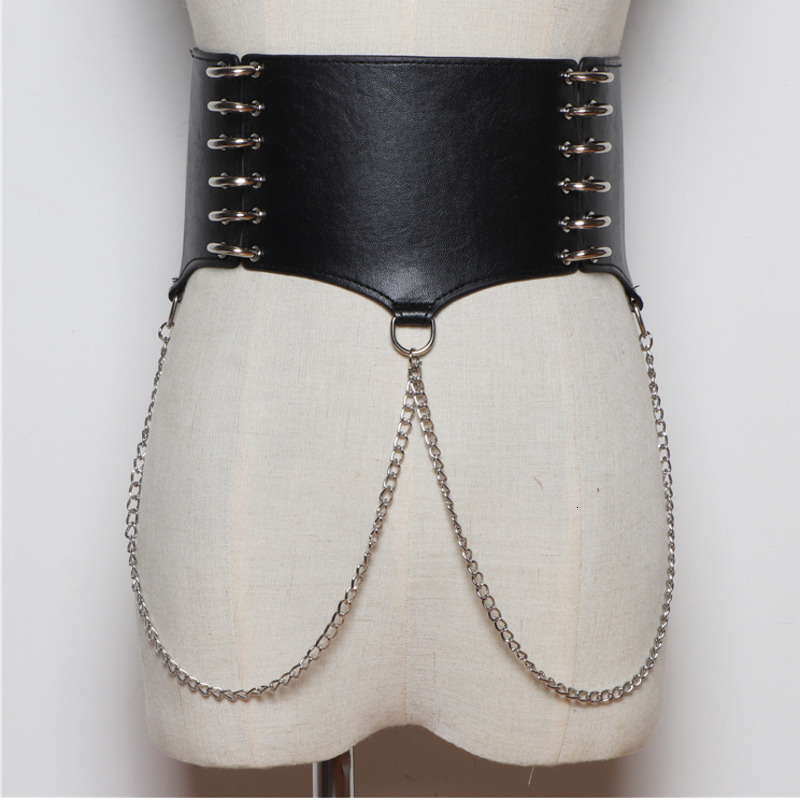 LANMREM 2020 Korean Version Of The Retro Pu Leather Chain Waist Bandage Solid Color Was Thin Temperament Wide Girdle PC214