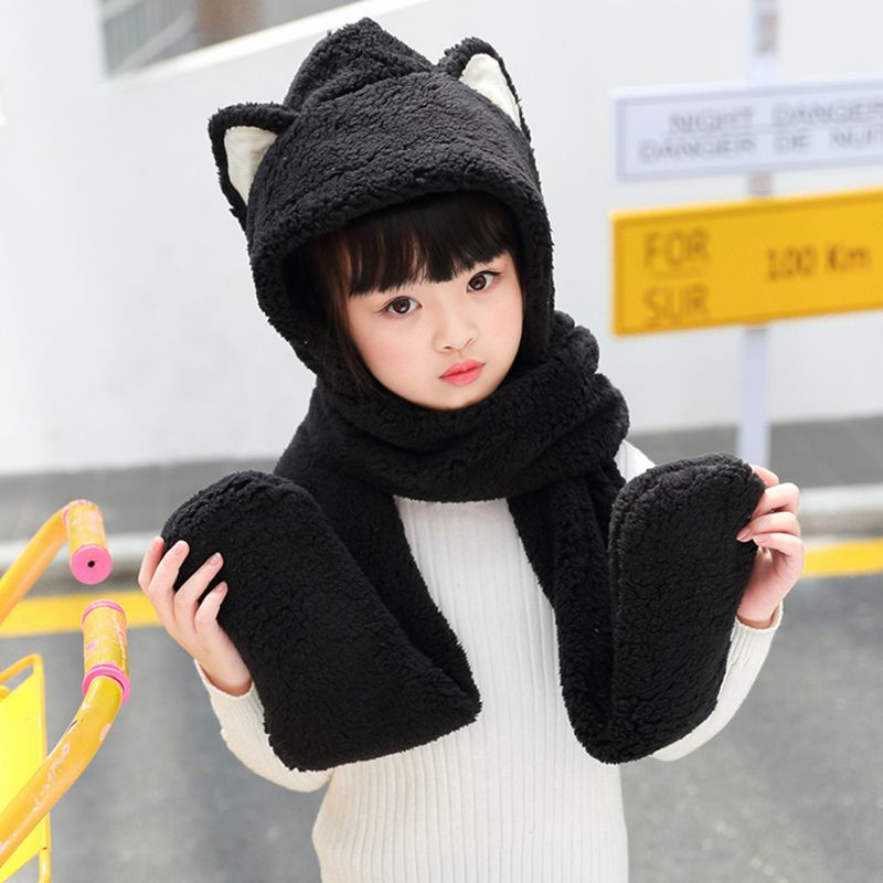 Toddler Kids 3 In 1 Warm Winter Hat Cute Animal Ears Scarf Gloves Earflap Cap 40JF