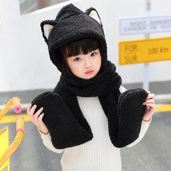 Toddler Kids 3 In 1 Warm Winter Hat Cute Animal Ears Scarf Gloves Earflap Cap 40JF