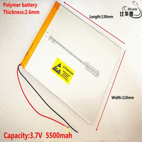 3.7V 5500mAh 26110130 Rechargeable Li-Polymer Li-ion Battery For Tablet PC