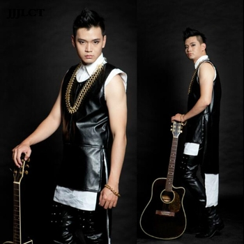 Personality men's rock and roll hip hop DJDS vest nightclub stage singer costumes men's Korean men's fashion