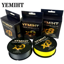 YEMIHT X9 X8 500M 300M 100M Braided Fishing Line 9/8 Strands MultiColor Multifilament Saltwater PE Line 20 24 35 40 50 65 80LB