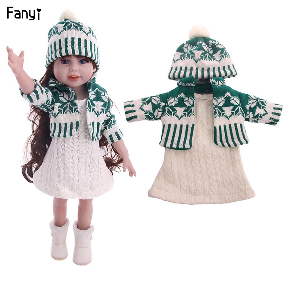 Winter fashion doll <font><b>clothes</b></font> cableknit sweater for 18 inches american <font><b>BJD</b></font> girl doll and 43 cm doll accessories suit image
