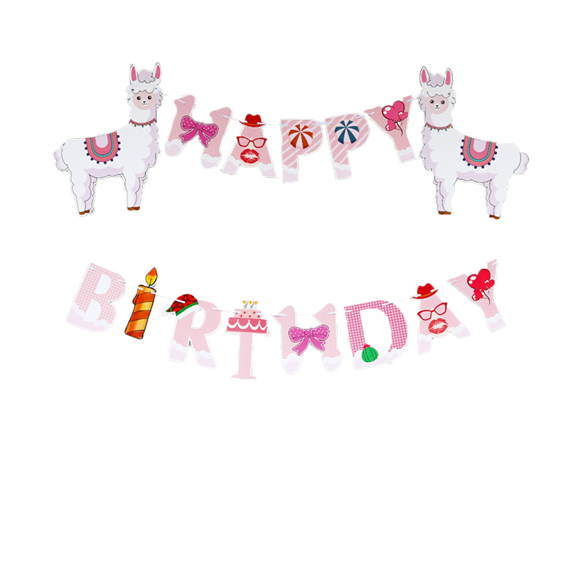 Llama Theme Party Decoration Happy Birthday Banners Pink Alpaca Foil Balloons Kids Birthday Baby Shower Llama Photo Booth Props