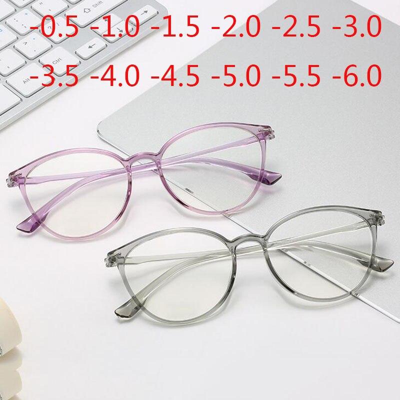 Retro Cat Eye Clear Lens Spectacle Women Myopia Optical Eyewear -0.5 -1 -1.5 -2 -2.5 -3 -3.5 -4 -4.5 -5 -5.5 -6