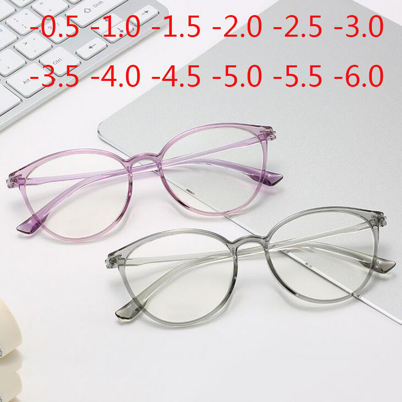 Retro Cat Eye Clear Lens Spectacle Women Myopia Optical Eyewear -0.5 -1 -1.5 -2 -2.5 -3 -3.5 -4 -4.5 -5 -5.5 -6