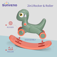 Sunveno 2in1 Toddler Kids Animal Rocking Horse,Easily Converts from Rocker To Roller,for Baby 12 36M