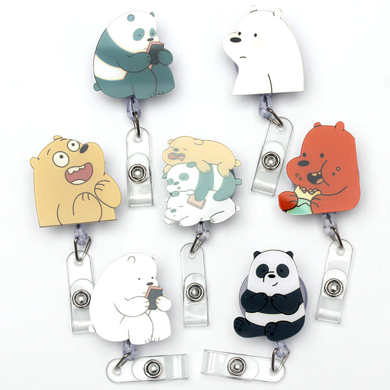 Cartoon Three Bear Retractable Creative Plastic Badge Holder Reel Student & Nurse Exhibition Enfermera Girl Name Card Chest Card
