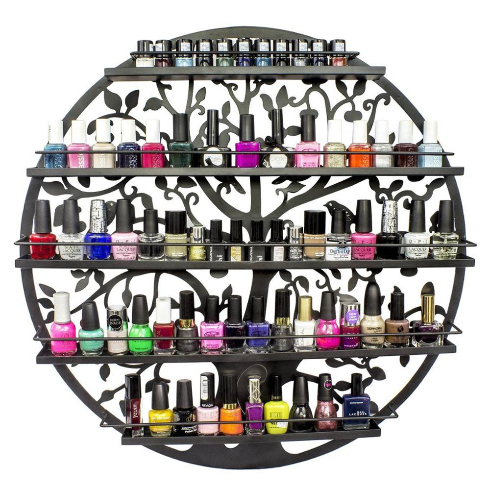 5 Layers Iron Nail Polish Shelf Manicure Special Cosmetics Boutique Store Shelves Round Gel Nail Polish Display Wall Rack