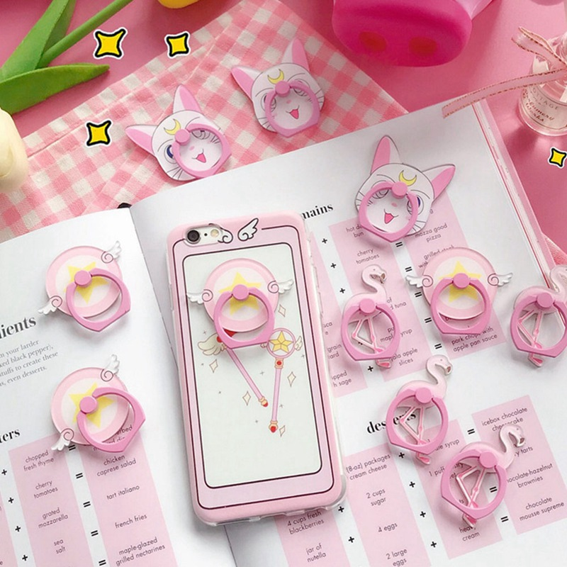 Sailor Moon Phone Holder Cute Cartoon Pink Flamingo Phone Finger Ring Holder 1PCS