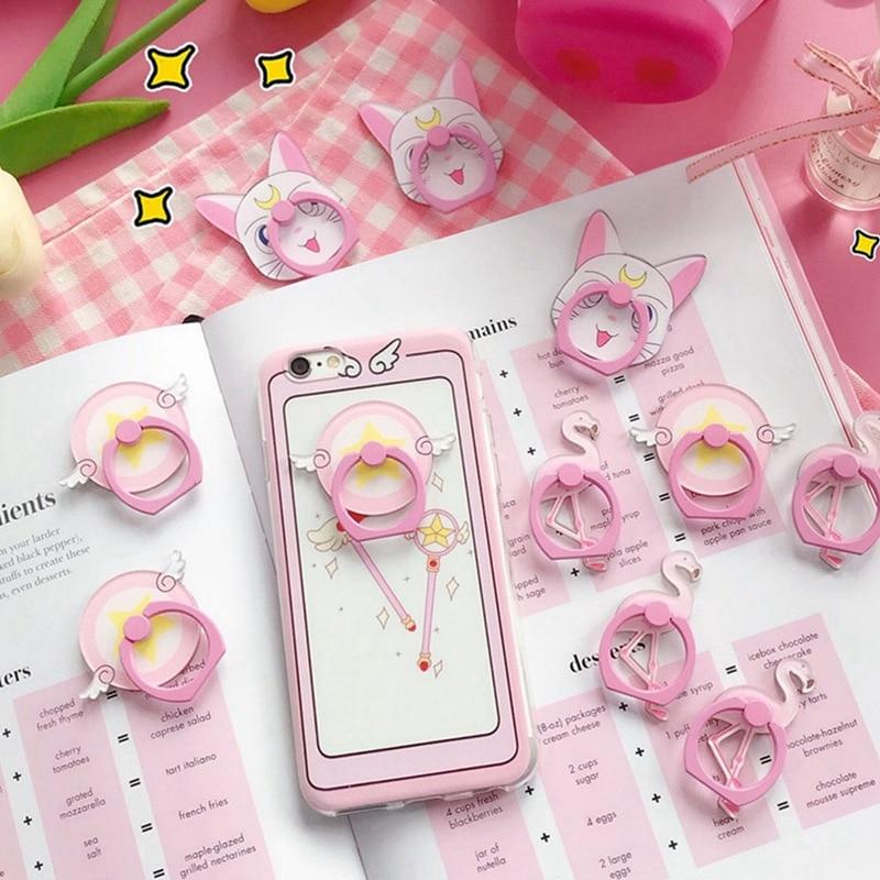 Sailor Moon Phone Holder Cute Cartoon Pink Flamingo Phone Finger Ring Holder 1PCS