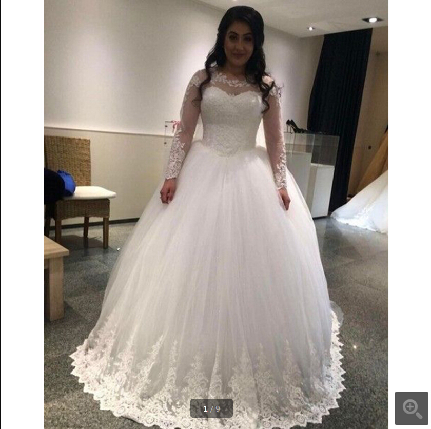 2020 New Designer White Tulle Ball Gown Wedding Dress Lace Appliques Long Sleeve Modest Wedding Gowns Bride Dresses Best Selling