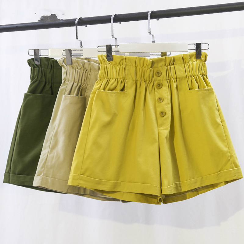 Cotton Elastic High Waist Shorts Women 2019 Summer Korean Fashion Loose Wide Leg Shorts Female School Short Pants Ladies