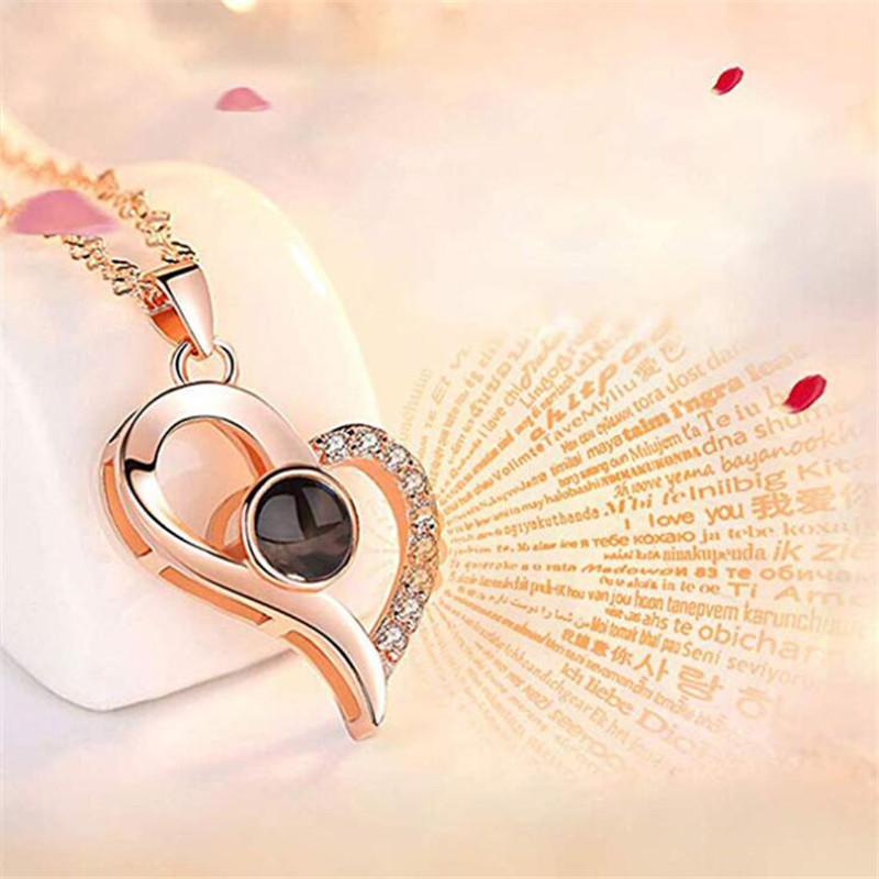 H54ffd2124a8243ae894727d6b5510ab2X - Rose Gold 100 languages I love you Projection Pendant Necklace Romantic Love Memory Wedding Necklace