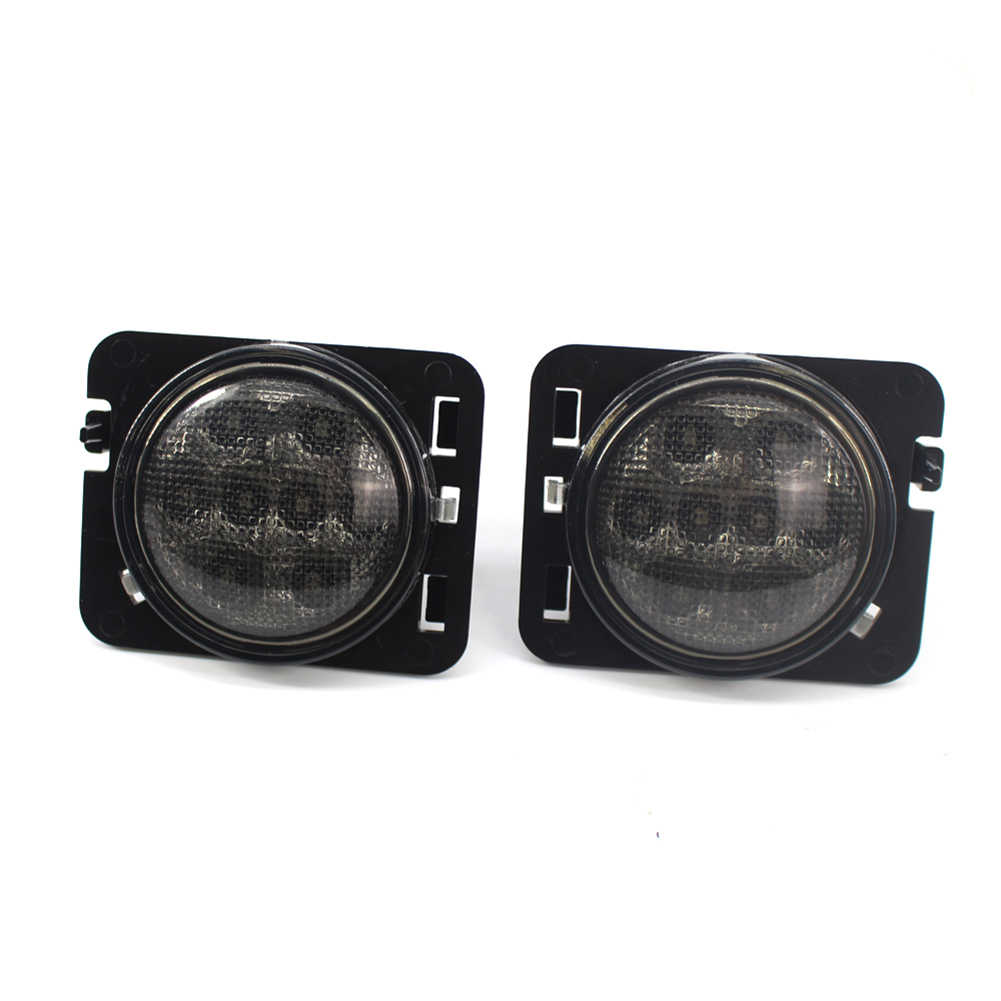 Vudoll 1 زوج LED بدوره إشارة الجانب ضوء Smoked عدسة ل جيب رانجلر JK 2007-2017 انخفاض استهلاك الطاقة ABS LED سيارة ضوء