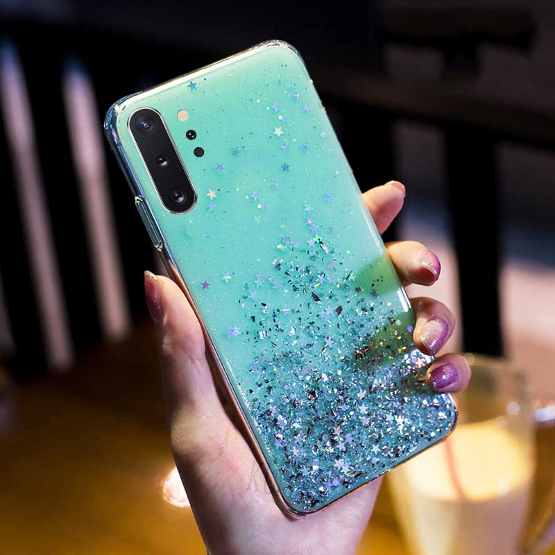 Luxury Glitter Star Case For Samsung Galaxy A70 A50 A10 A20 A30 A60 A80 A90 A20S A10S A20E Note 10 9 8 S10 S9 S8 Plus S10E Cover - Цвет: Green