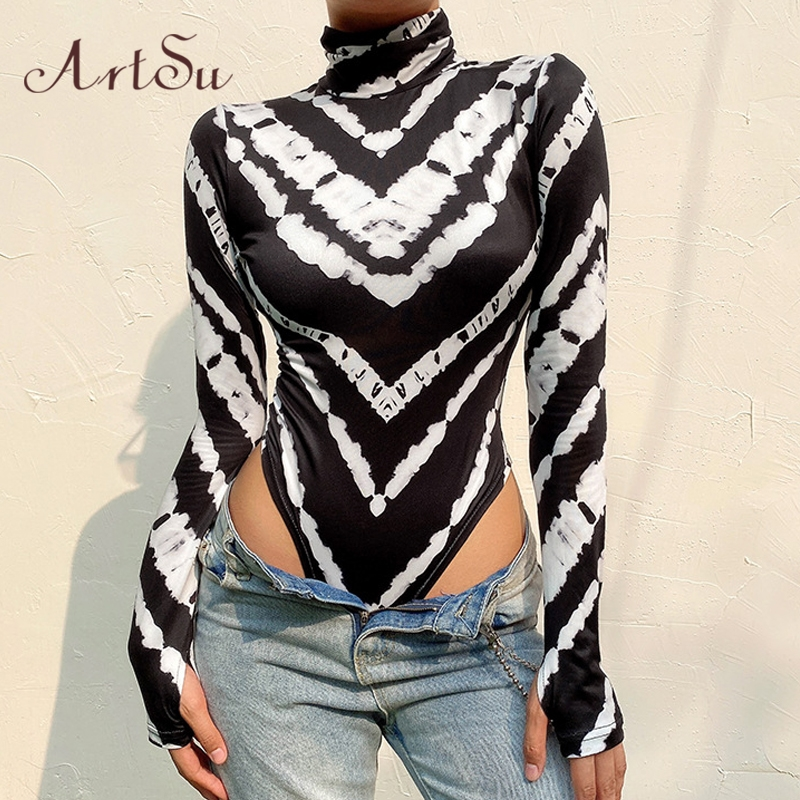 ArtSu Zebra Print Turtleneck Long Sleeve Skinny Bodysuits Women Sexy Geometric Bodycon Rompers Body Suit Mujer New ASJU60482