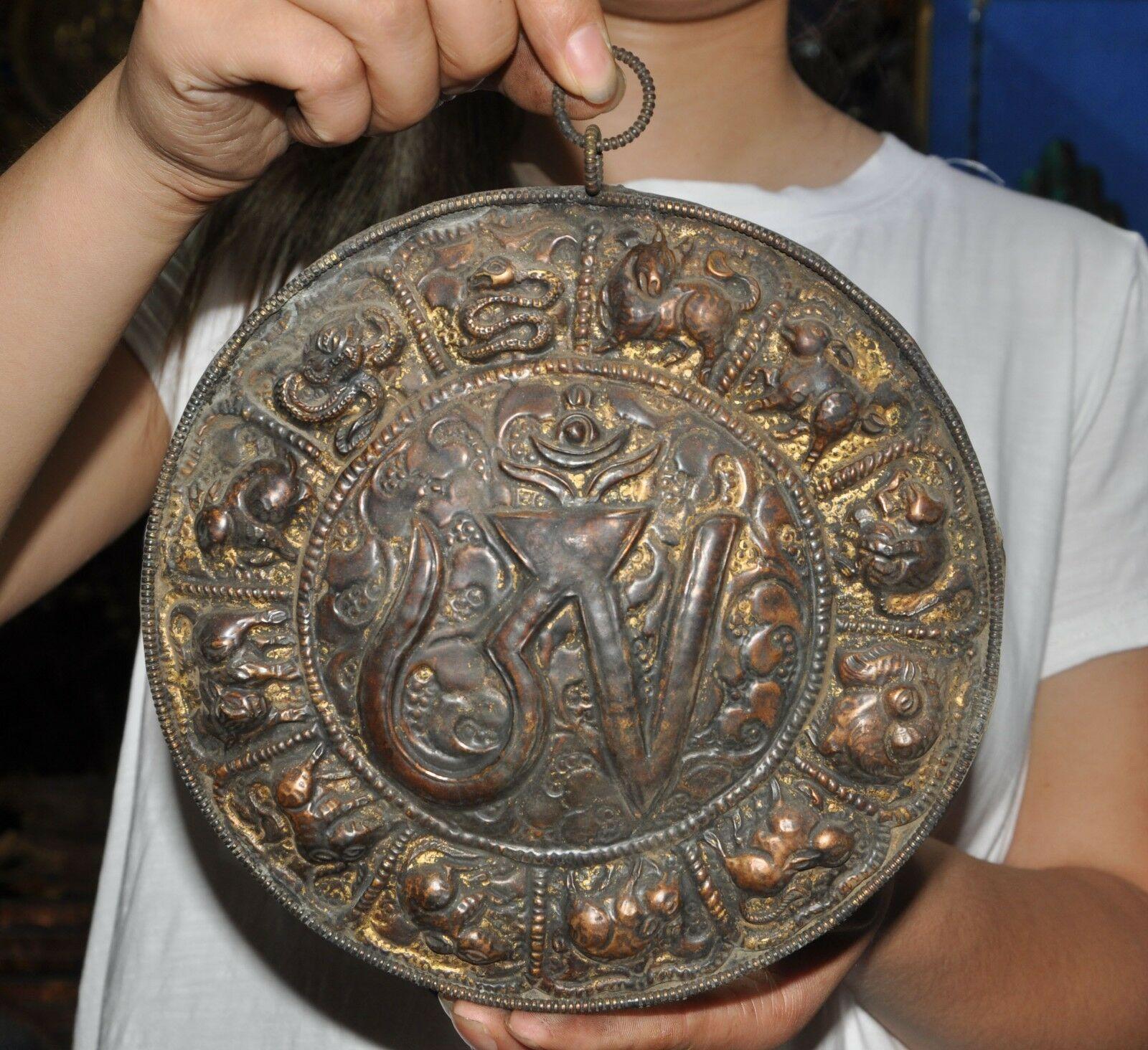 Свадебные украшения 8 Старый тибетский буддизм, бронзовый позолоченный знак зодиака животных Сутра настенный Tangka