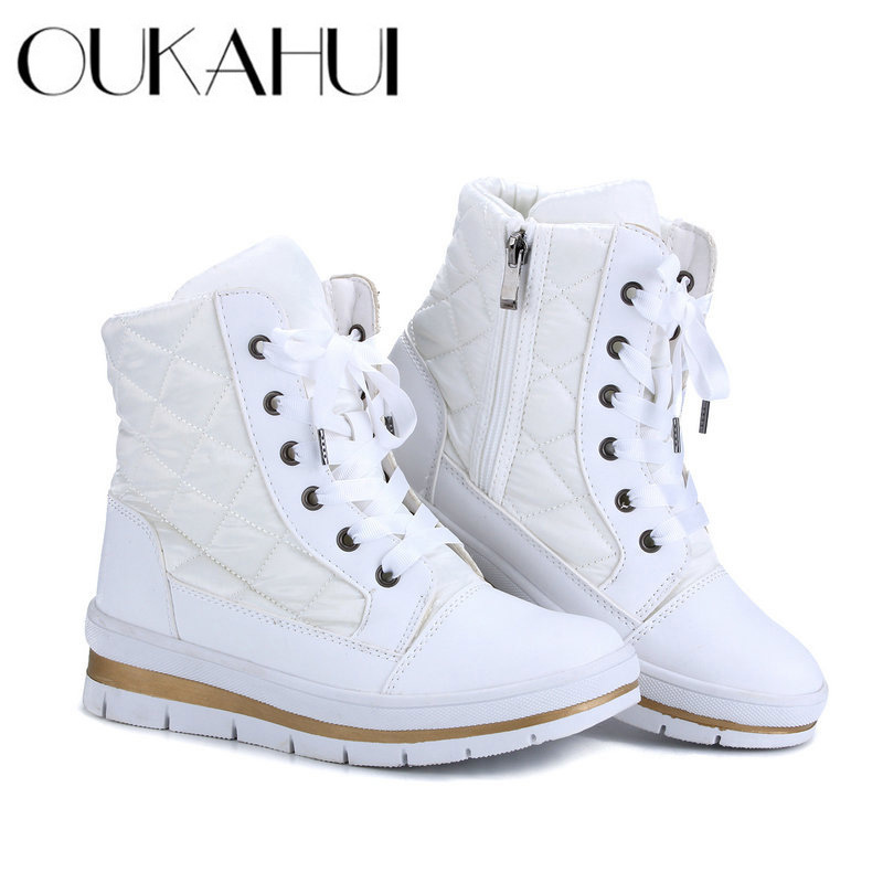 OUKAHUI 2019 Autumn Winter Warm Short Boots Women Lace-Up Round Toe Fashion White Zipper Ankle Boots For Women Winter Low Heel