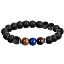 EBUTY Beaded Bracelet Men Natural Stone Tourmaline Negative Ions Lava Hematite Health Energy Bangle Jewelry for