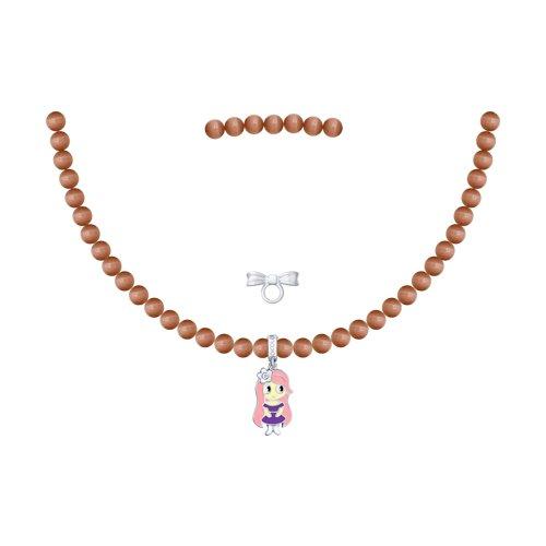 SOKOLOV Necklace Of Silver And Enamel Phianite, Fashion Jewelry, 925, Women's/men's, Male/female