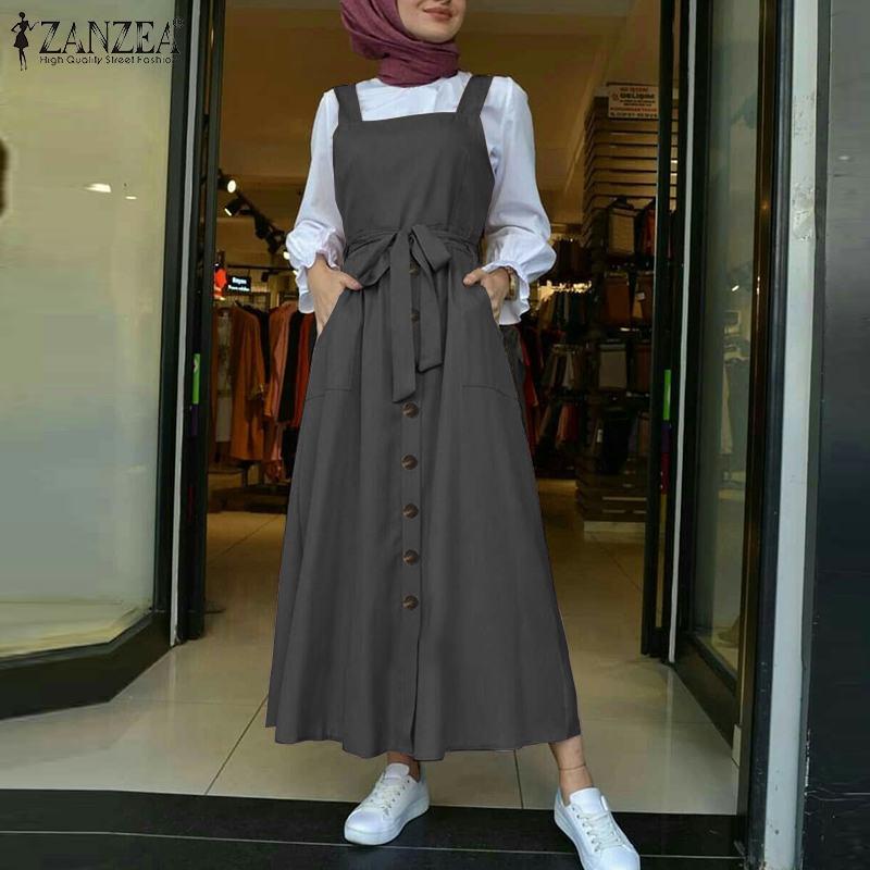 Women's Autumn Overalls Vestidos Fashion Islamic Dress ZANZEA 2021 Casual Solid Tank Marocain Robe Female Button Sundress S-5XL 1