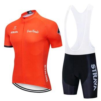 2019 STRAVA Ciclismo Jersey conjunto verano bicicleta de montaña Ropa Pro bicicleta Ciclismo Jersey Ropa deportiva traje Maillot