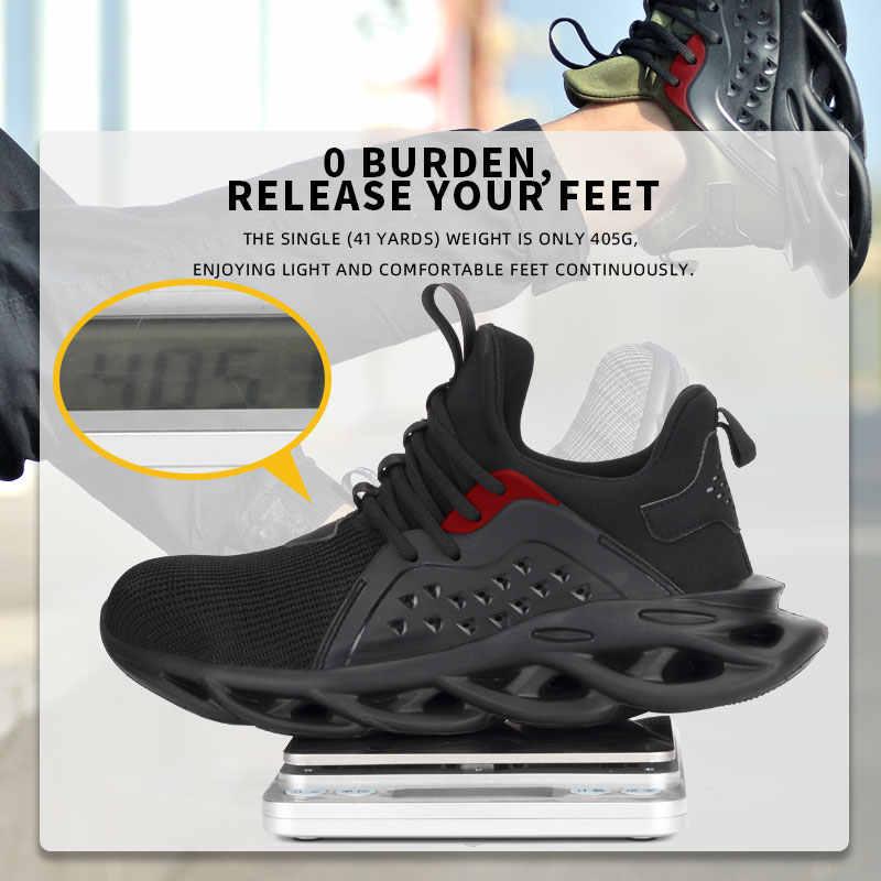 SUADEEX iş ayakkabısı erkek açık nefes çelik ayak Anti Smashing güvenlik ayakkabıları hafif delinme dayanıklı rahat güvenlik botları