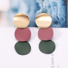 Korean Big Round Circle Coins Drop Earrings For Women Colorful Metal Sequins Long Dangle Female Jewelry Gift 2019
