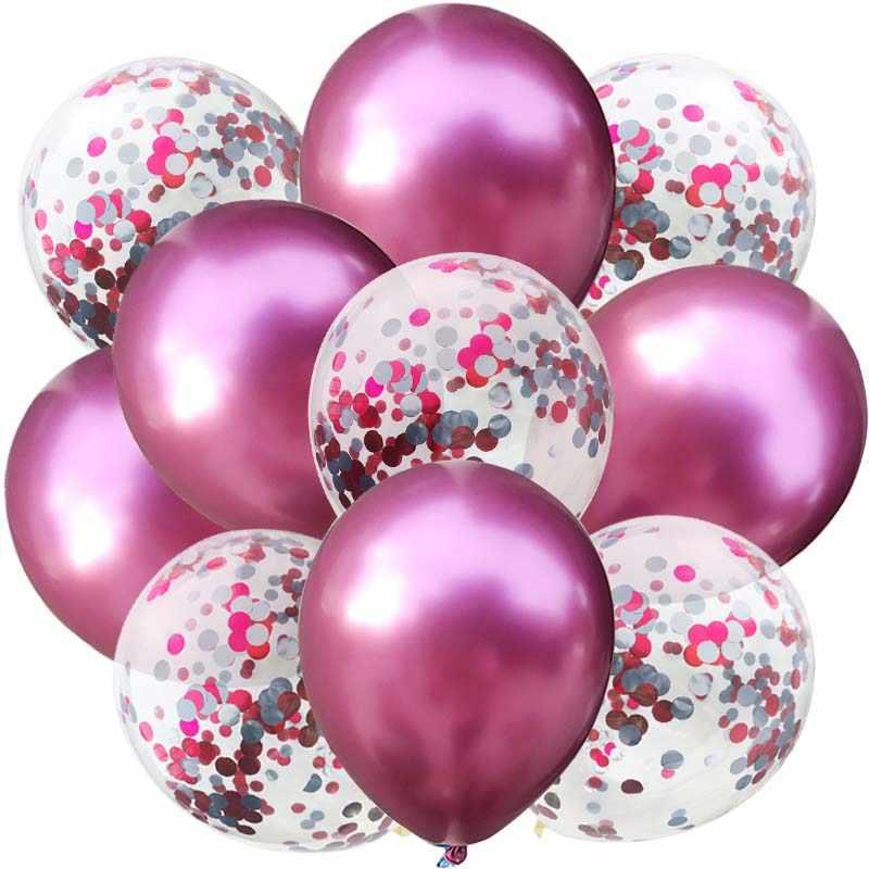 10 Pcs 12 Pollici Palloncini Metallici Due-Confetti di Colore Della Miscela Della Decorazione Del Partito Palloncini di Compleanno Favori di Nozze Perline Sfera di Aria baloons