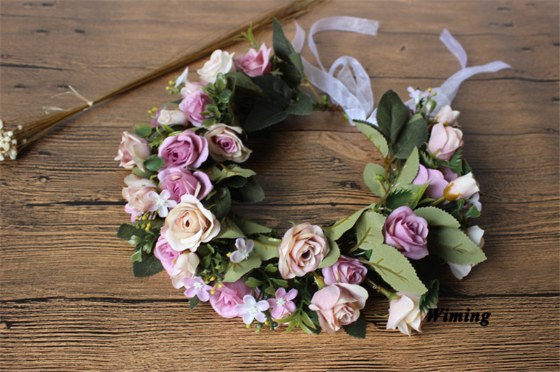 floral headband Flowers Wreath for girls women female adult props Wedding Flower rattan Bride Headband Hair Accessories in Wreaths Garlands from Home Garden