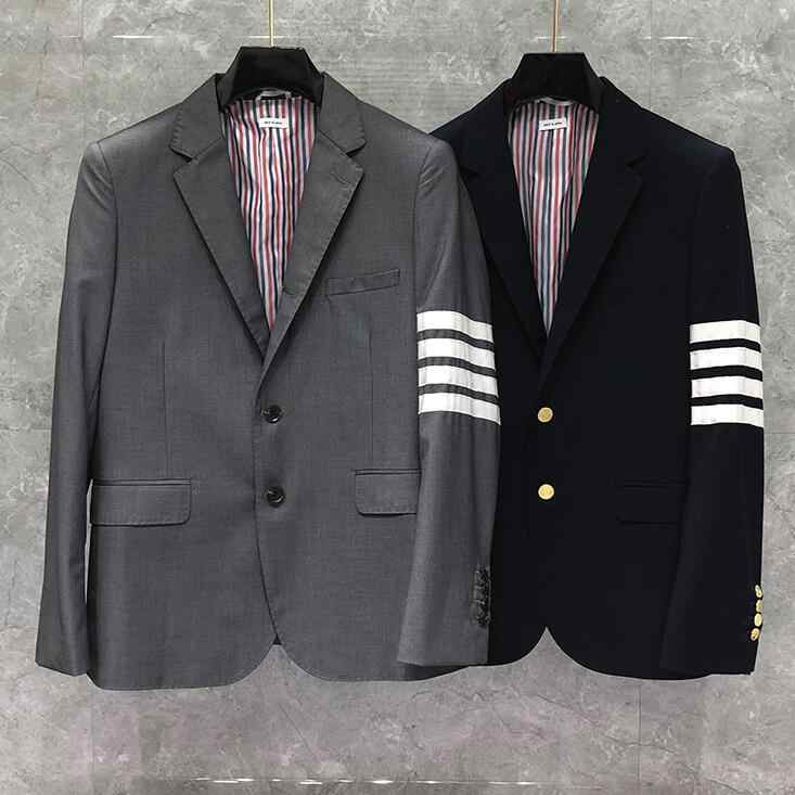 2020 moda TB THOM marka formalny blezer mężczyźni brytyjski garnitur Casual męska kurtka wiosna jesień pojedyncze łuszcz wełniany w paski płaszcz