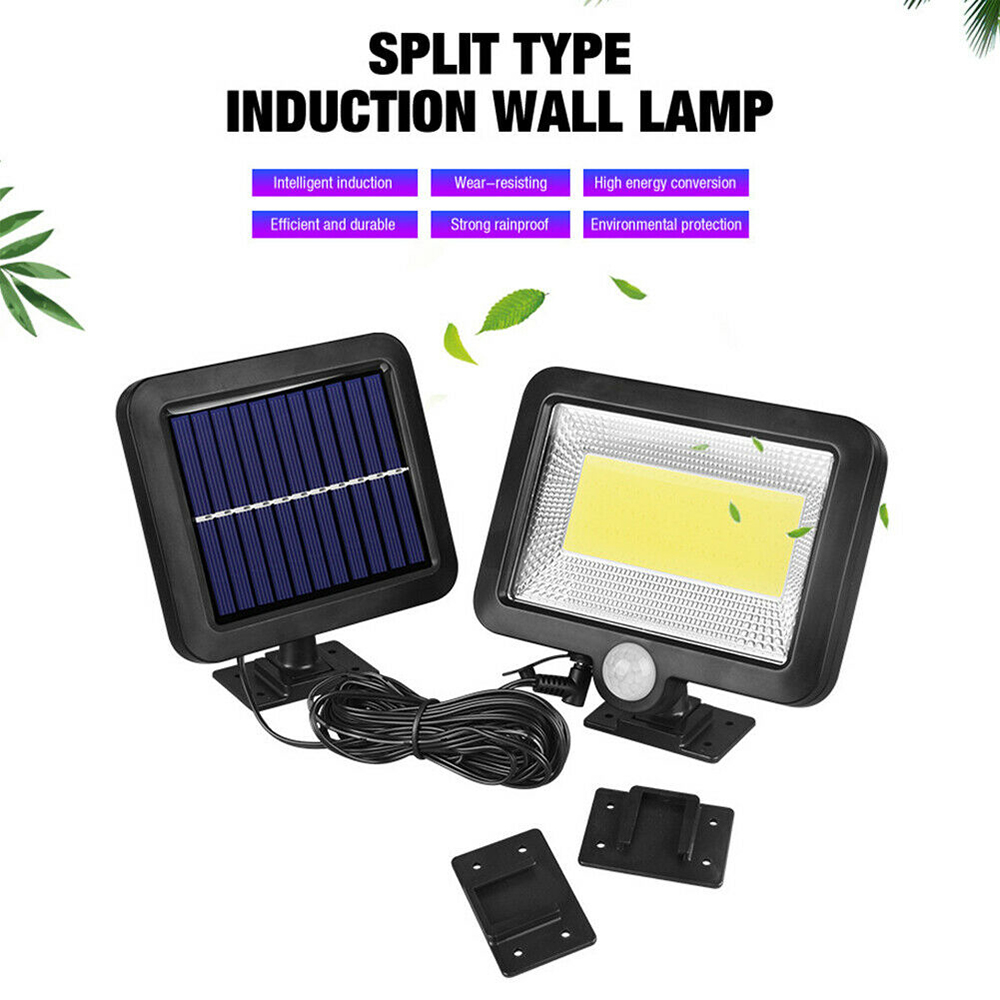 50W Waterproof PIR Security Wall Light 100 LED Outdoor Solar Power Motion Sensor Garden Floodlight