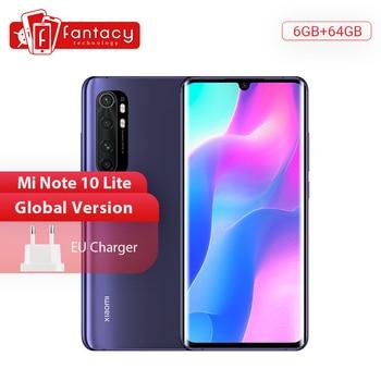 Xiaomi-smartphone Mi Note 10 Lite, versión Global, 6G, 64G, cámaras Quad de 64MP, pantalla curvada AMOLED de 6,47 pulgadas, batería de 5260mAh, carga rápida de 30W