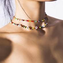 Colar estilo boêmio feminino, colar artesanal de arco-íris com concha de doces, personalidade, multicamada, satélite, moda feminina, joia