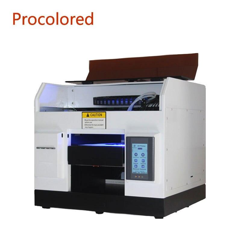 Máquina de impressão uv automática completa do leito do inkjet do tamanho a4 multifunction da impressora uv de procolored para a caixa de telefone de madeira do metal uv-impressora
