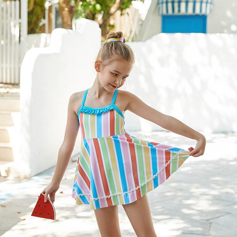 2019 New Style Multi-color Stripe KID'S Swimwear Children Dress-Tour Bathing Suit Hot Springs Beach GIRL'S Swimsuit