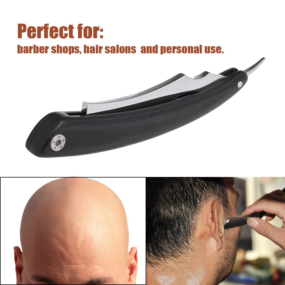 Men Shaving Razor Old Style Straight Edge Stainless Steel Barber Razor Folding Shaving Knife Hair Removal Tools Wooden Handle