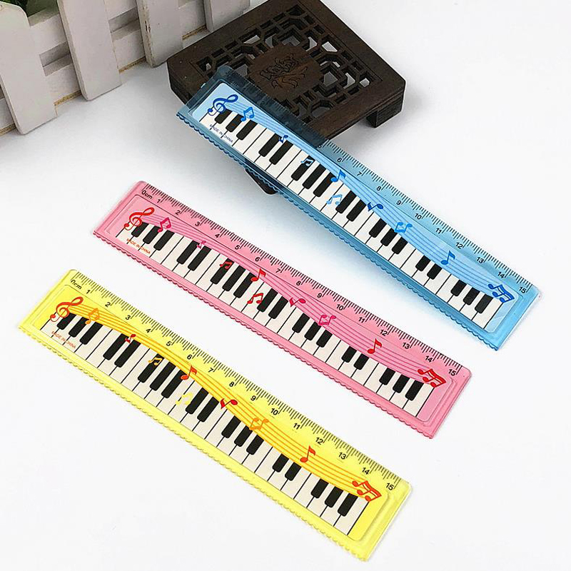 3 Pcs/set Cute 15cm Musical Notes Piano Keyboard Plastic Straight Rulers Bookmark School Student Drawing Sketch Gift Stationery