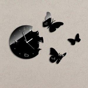 3d Zwarte Vlinders Diy Wandklok Creative Design Horloge Quartz Kristallen Spiegel Muursticker Wanduhr Muurschildering Woonkamer