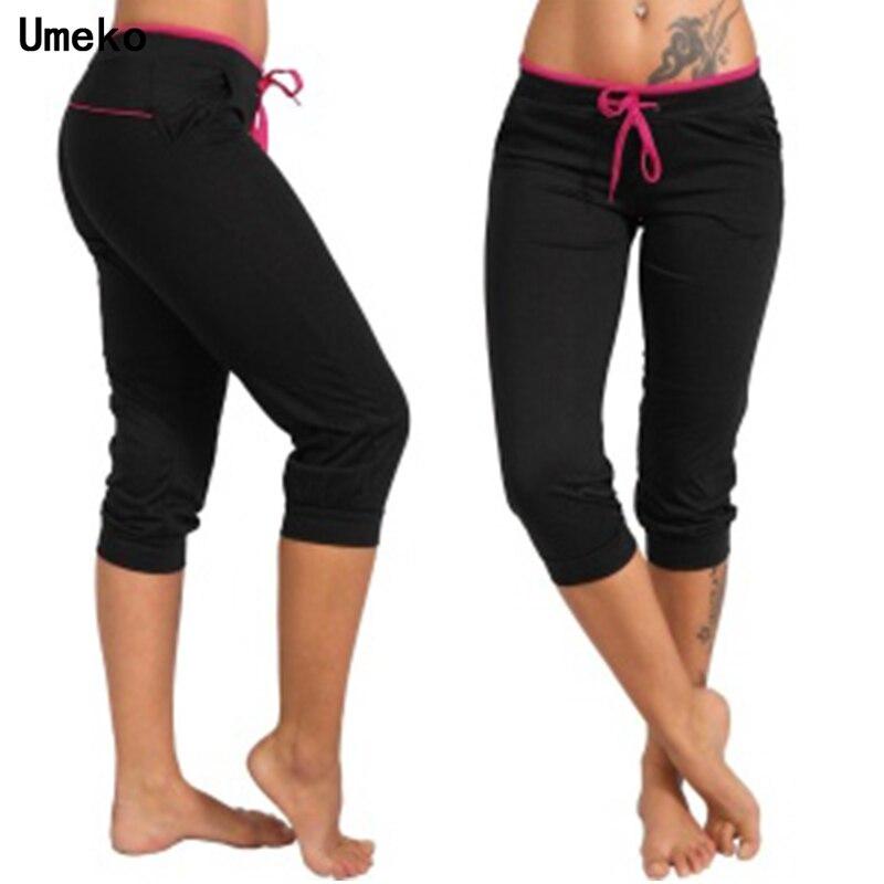 Umeko Summer Women Fashion Skinny Elastic Waist Capri Solid Drawstring 2020 New Casual Cotton Short Pants Sportswear Leggings