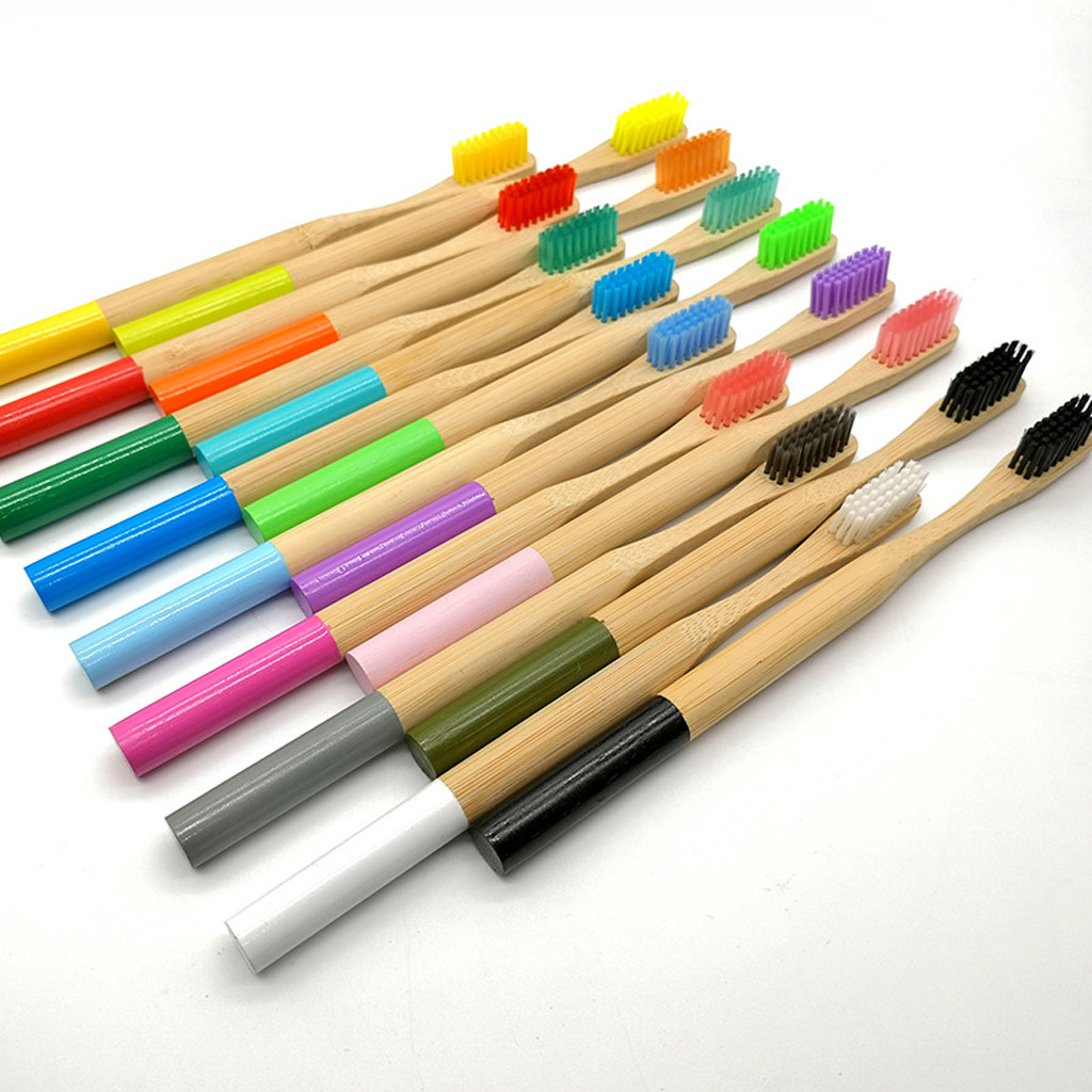 16pcs Natural Bamboo Handle Toothbrush Rainbow Colorful Whitening Soft Bristles Bamboo Toothbrush Eco-friendly Oral Care image