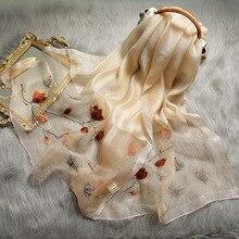 2020 Mới Mùa Đông Khăn Quàng Cổ Nữ Lụa Đan Len Thêu Hoa Thanh Lịch Khăn Choàng Pashmina Khăn Quàng Cổ Cho Nữ Mùa Xuân Ấm Áp Khăn Choàng Len