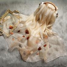 Écharpe dhiver pour femmes, tricot en soie, broderie élégante motif Floral, Pashmina, châles chauds de printemps, nouvelle collection 2020