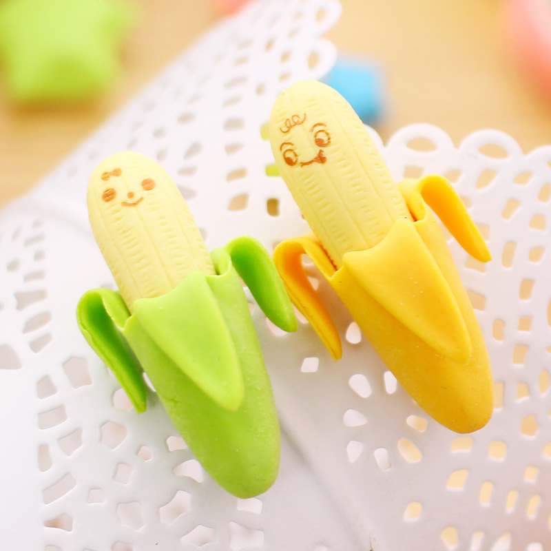 6pcs Mini Banana Erasers Rubber For Pencil Erasing Funny Cute Stationery Novelty Eraser Office Correction School Student F414