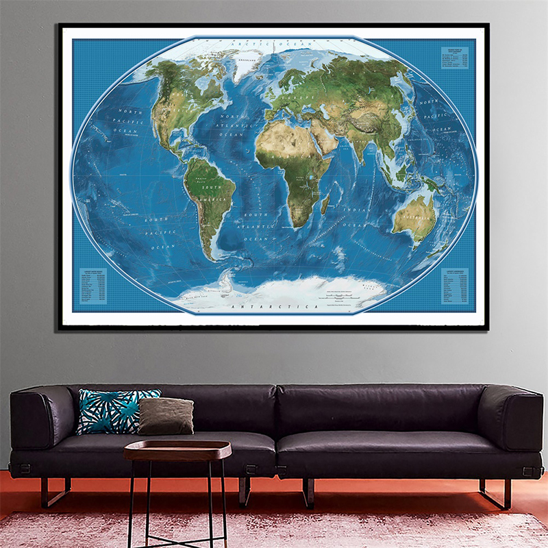 150x100cm Satellite Imagery Of The World Foldable Non-woven World Map With Largest Land And Water Bodies Rank By Area