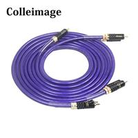 Colleimage Hifi Silver Stereo Pair RCA Cable High performance Audio 2rca to 2rca Interconnect Cable WBT 0144 RCA Audio Cable