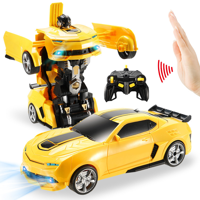 2.4Ghz Induction Transformation RC Car Robot 28cm Led Lights Music Robots fightint Deformation Remote Control Cars Toys for Boys