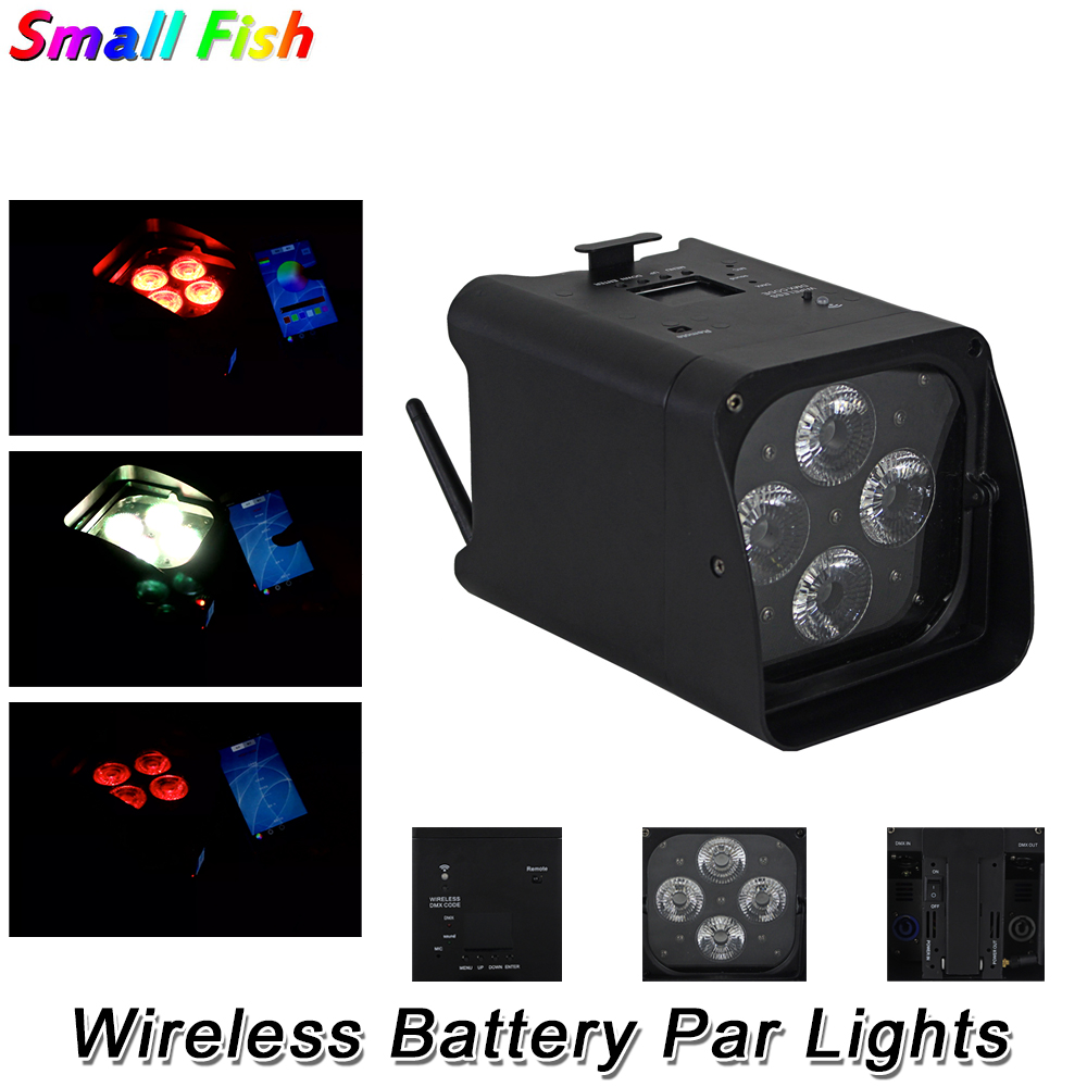 Wireless Battery Par Lights 4X10W RGBWA UV 6IN1 LED Wash Lights DMX Par Cans Remote Control Stage Dj Lighting Shows Projector|Stage Lighting Effect| |  - title=